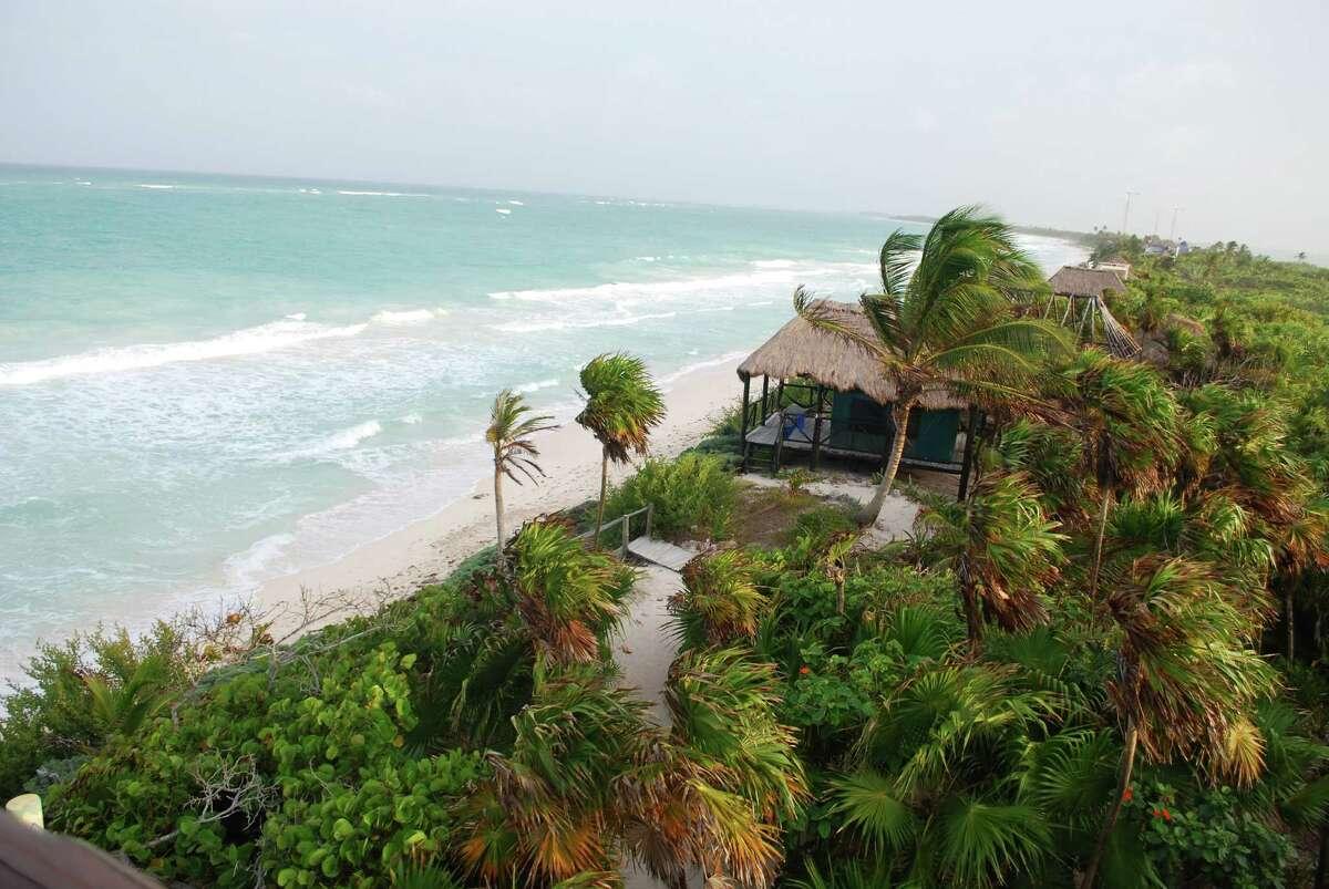 A cabana on the 15-acre property known as the Centro Ecológico Sian Ka'an (CESiaK) looks out over the sea.