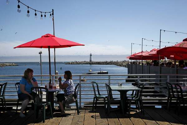 Outdoor seating by the water at Aldo's in Santa Cruz, Calif., on Wednesday, July 30, 2014.