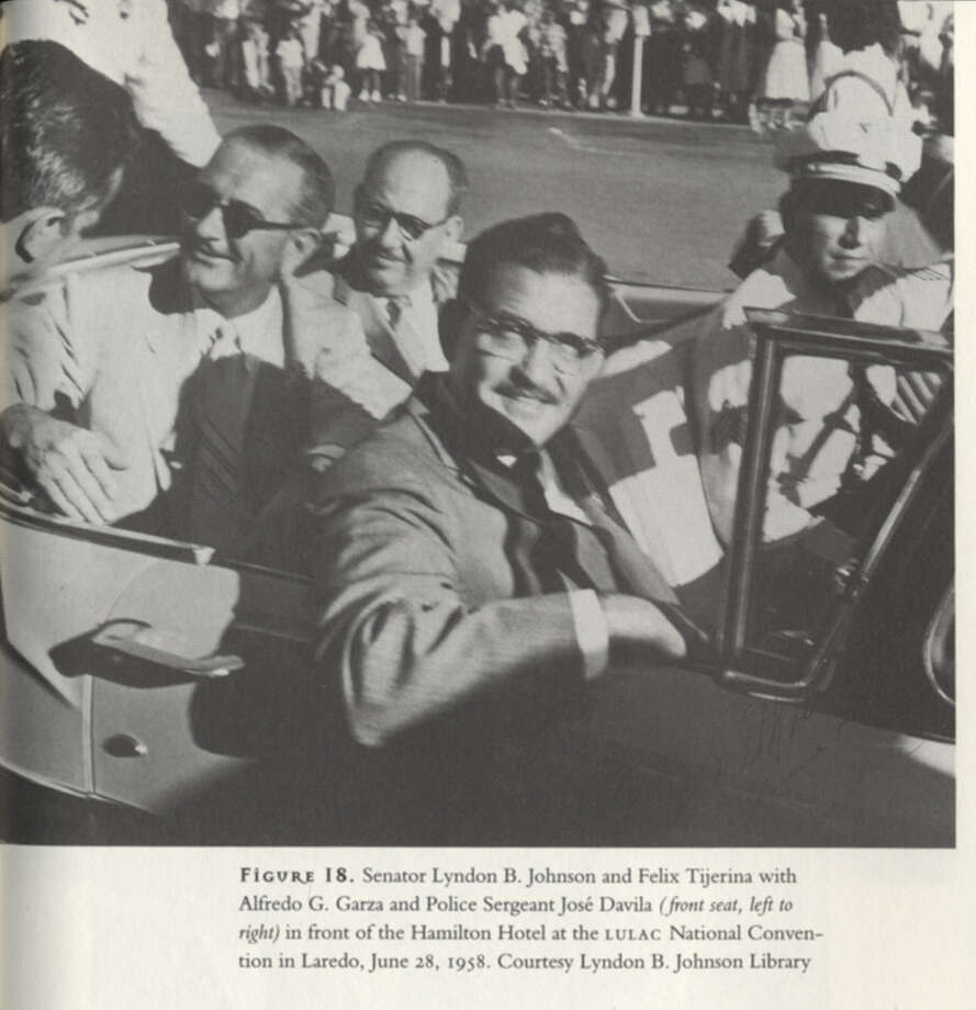 "Tijerina served as president of LULAC (League of Latin American Citizens) from 1956 to 1960. In this 1958 photo, taken during LULAC's nationa convention in Laredo, Tijerina is in the back seat, next to Sen. Lyndon Baines Johnson. Scanned from book ""Mexican American Odyssey,"" by Thomas H. Kreneck.  Photo: Lyndon B. Johnson Library, Mexican American Odyssey / handout book scan"
