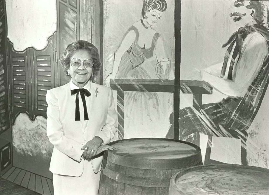 "Janie Tijerina, honored at the Houston Junior Forum's 1986 ""Showtime Fiesta"" in Jones Hall. The Tijerinas supplied dinners, music and costumes for HJF's first major fundraaising event in 1948, and they underwrote HJF's first library, where English was taught to Hispanic children. Photo: STEVE CAMPBELL, Houston Chronicle / Houston Chronicle"