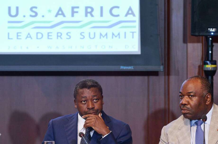 Togo's President Faure Essozimna Gnassingbe (left) and Gabon's President Ali Bongo Ondimba attend the U.S.-Africa Leaders Summit in Washington. Photo: Jewel Samad / AFP / Getty Images / AFP