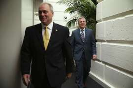 WASHINGTON, DC - AUGUST 01:  U.S. House Majority Leader Rep. Kevin McCarthy (R-CA) (R) and House Majority Whip Rep. Steve Scalise (R-LA) (L) arrive at a House Republican Conference meeting August 1, 2014 on Capitol Hill in Washington, DC. The House came back on Friday, a day after its scheduled summer recess, trying to finish up a border supplemental spending bill that was pulled from the floor the day before because of a shortage of votes.  (Photo by Alex Wong/Getty Images)