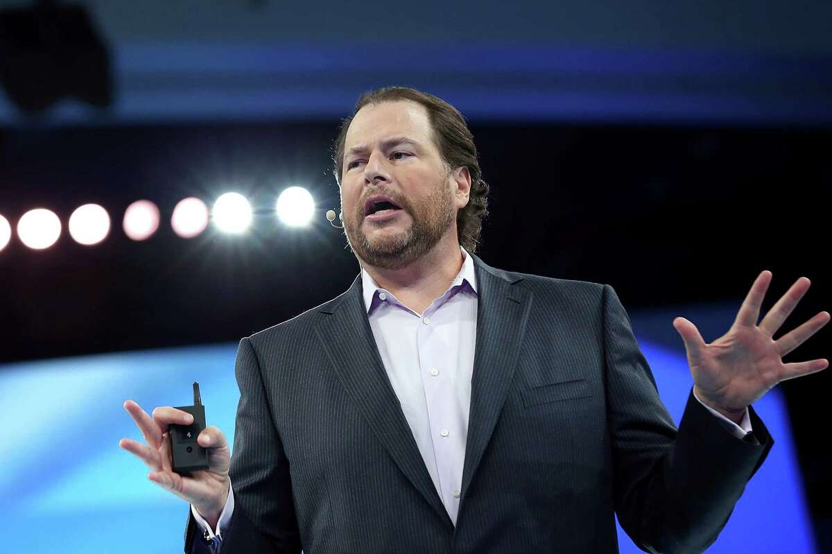 Salesforce CEO Marc Benioff delivers the keynote address during the Dreamforce 2012 conference at the Moscone Center on September 19, 2012 in San Francisco.