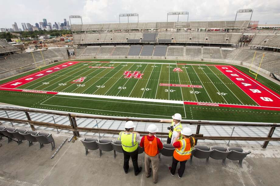 The city skyline can be seen through a corner of the new TDECU Stadium during a tour of the venue on the University of Houston Campus Tuesday, Aug. 5, 2014, in Houston. TDECU Stadium is scheduled to open on August 29, went UH plays the University of Texas-San Antonio. ( Brett Coomer / Houston Chronicle ) Photo: Houston Chronicle
