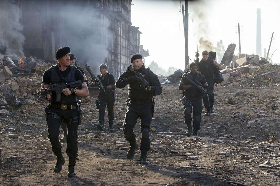 "Sylvester Stallone (left), Randy Couture, Antonio Banderas, Jason Statham, Wesley Snipes and Dolph Lundgren in ""The Expendables 3,"" which adds a host of youngbloods to the franchise's cast. Photo: Phil Bray, Lionsgate"