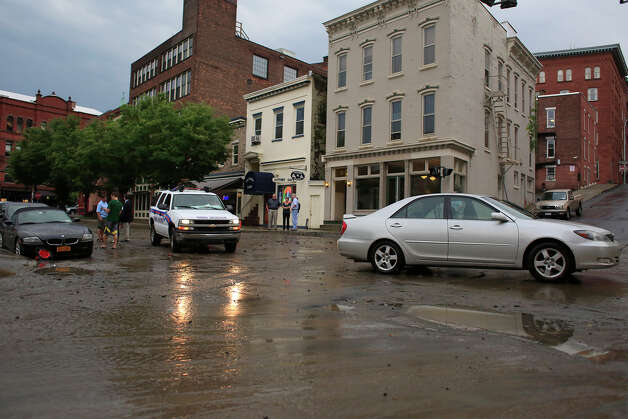 Heavy flooding occurred on Sheridan Avenue after severe weather hit the area on Tuesday, August 5, 2014 in Albany, N.Y.  (Tom Brenner/ Special to the Times Union) Photo: Tom Brenner, Albany Times Union / ©Tom Brenner/ Albany Times Union