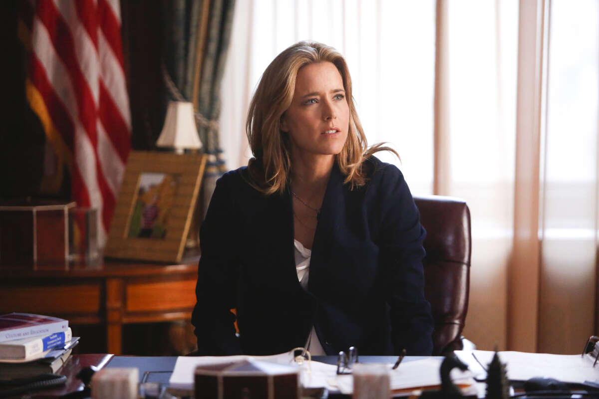 Tea Leoni, star of CBS political drama, 'Madam Secretary,' made us laugh when she told us how her kids responded when she broke it to them that she would be going back to work. (Courtesy of CBS)