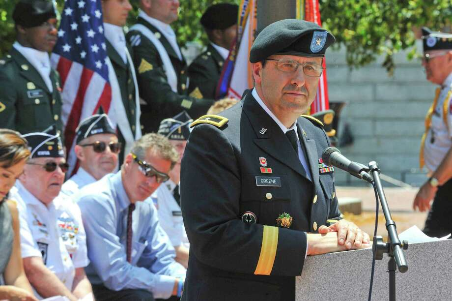 Maj. Gen. Harold Greene speaks at Natick, Mass., on his last day of command of the Natick Soldier Systems Center in 2011. Photo: HOPD / U.S. Army