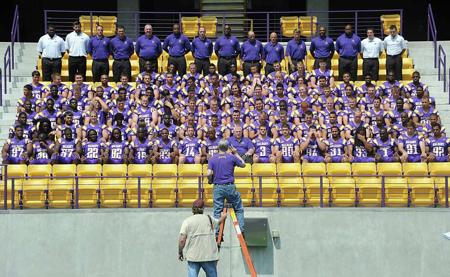 UAlbany football team gets their team photo taken at the Bob Ford stadium during media day on Tuesday, Aug. 5, 2014 in Albany, N.Y.  (Lori Van Buren / Times Union) Photo: Lori Van Buren / 00028054A