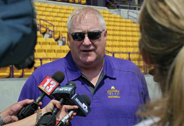 UAlbany football head coach Greg Gattuso speaks to the press during media day at the Bob Ford stadium on Tuesday, Aug. 5, 2014 in Albany, N.Y.  (Lori Van Buren / Times Union) Photo: Lori Van Buren / 00028054A