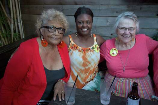 "Cherry Griffin, left, Arthurene Smith and Dr. Kay Lewis turn out for Tuesday night's watch party at Boheme in Houston as Juan Carlos Restrepo competes on ""America's Got Talent."" Photo: Johnny Hanson, Houston Chronicle / © 2014  Houston Chronicle"