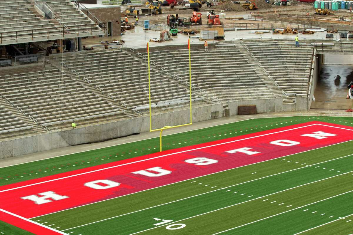 The shape of the Houston skyline is part of the north end zone at TDECU Stadium.
