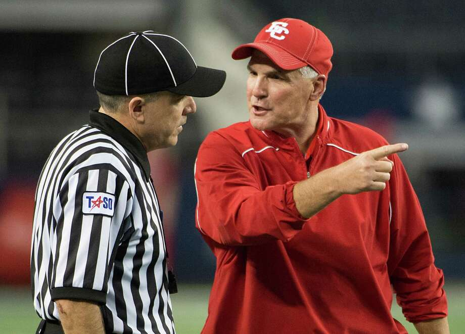 El Campo head coach Bob Gillis argues a personal foul penalty against his team during the first half of the Class 3A Division I high school football final against Stephenville at Cowboys Stadium on Friday, Dec. 14, 2012, in Arlington.  Smiley N. Pool / Houston Chronicle ) Photo: Smiley N. Pool, Staff / © 2012  Houston Chronicle