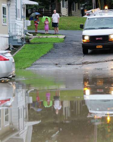 A fast moving storm caused flooding at the intersection of  Troy Schenectady Rd. (Route 2) and Monroe Ave. Tuesday afternoon, Aug. 5, 2014, in Colonie, N.Y. Route 2 was temporarily closed. (Will Waldron/Times Union) Photo: WW