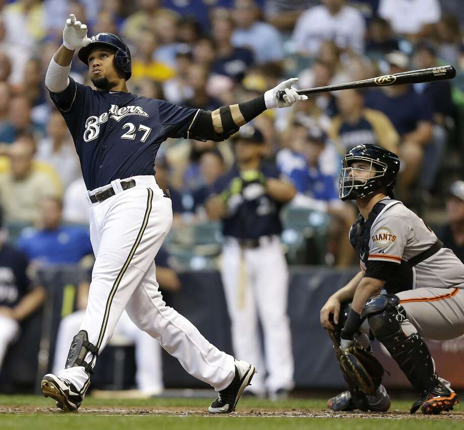 Milwaukee's Carlos Gomez swats a two-run homer to left off Tim Lincecum in the third inning to open the scoring. Photo: Mike McGinnis, Getty Images
