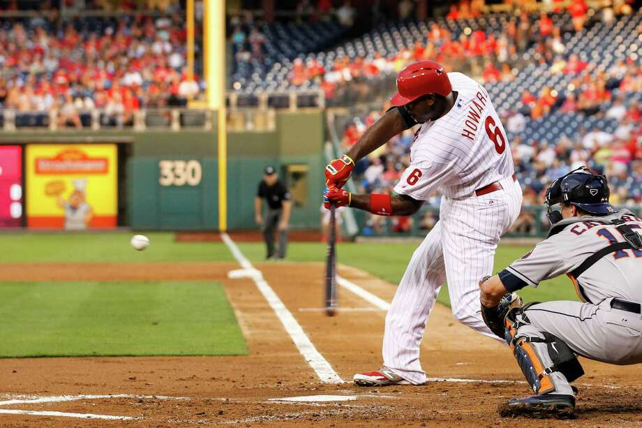 PHILADELPHIA, PA - AUGUST 05: Ryan Howard #6 of the Philadelphia Phillies hits a solo home run in the second inning of the game against the Houston Astros at Citizens Bank Park on August 5, 2014 in Philadelphia, Pennsylvania. Photo: Brian Garfinkel, Getty Images / 2014 Getty Images
