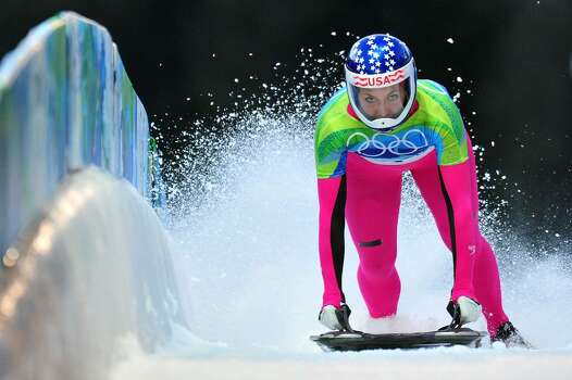 WHISTLER, BC - FEBRUARY 18:  Noelle Pikus-Pace of The United States competes in the women's skeleton on day 7 of the 2010 Vancouver Winter Olympics at The Whistler Sliding Centre on February 18, 2010 in Whistler, Canada.  (Photo by Clive Mason/Getty Images) *** Local Caption *** Noelle Pikus-Pace Photo: Clive Mason, Getty Images / 2010 Getty Images