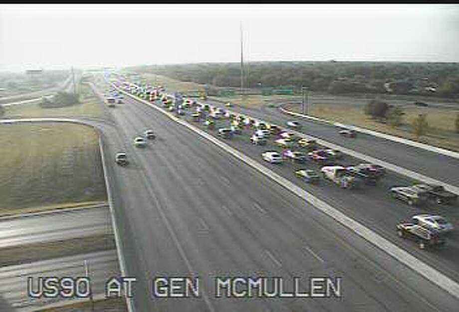 Traffic is backed up after a crash on U.S. 90 and McMullen Wednesday morning. Photo: Transguide