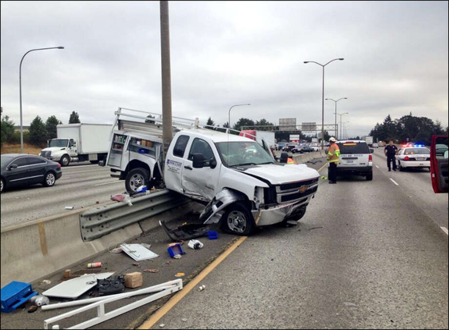 This Washington State Patrol photo shows the accident.