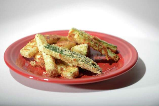 Zucchini fritters Friday, Aug. 1, 2014, at the Times Union in Colonie, N.Y. (Will Waldron/Times Union) Photo: WW / 00028022A