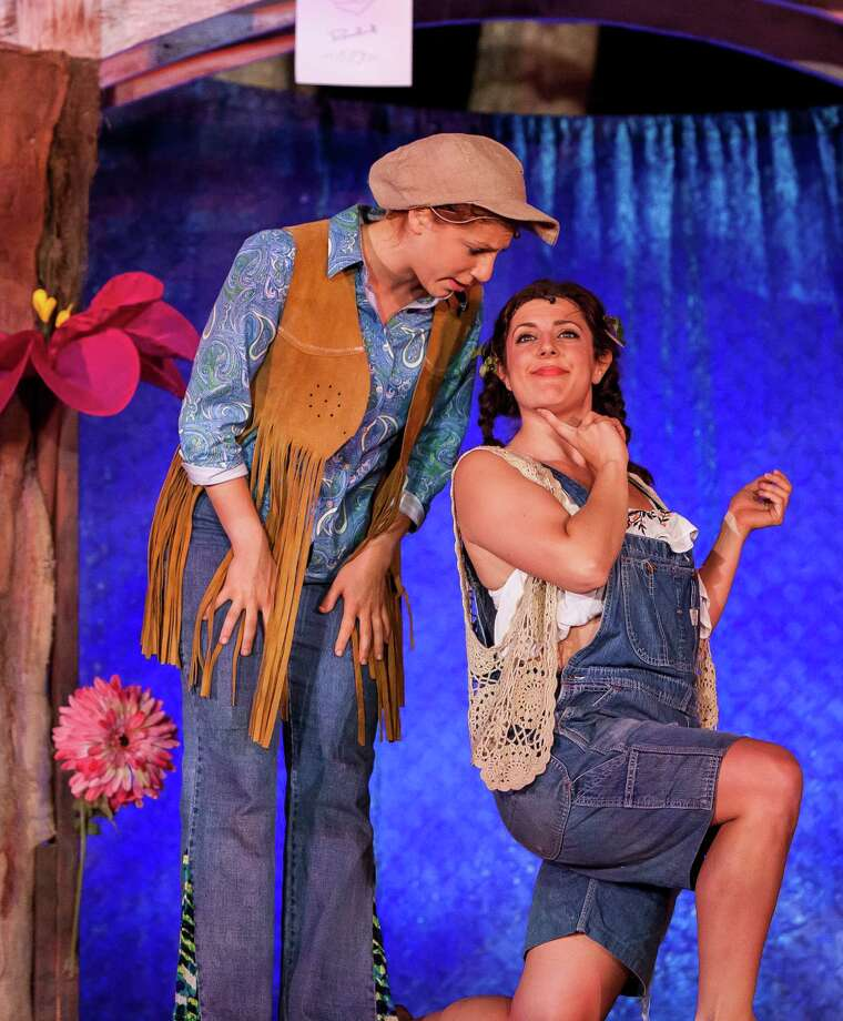 "In disguise as a young man named Ganymede, Rosalind (Hannah Dubner, left) stirs romantic thoughts in Phoebe (Regina Gibson) in the Connecticut Free Shakespeare production of ""As You Like It."" Photo: Contributed Photo / Connecticut Post"