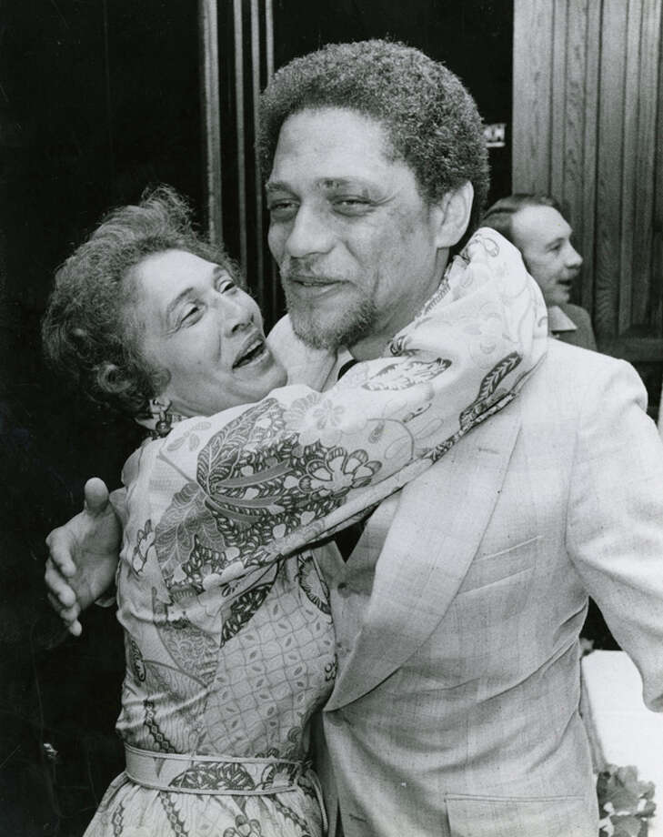 A jubilant Mickey Leland hugs his mother Alice Raines after a victory in the 1978 18th Congressional District runoff. Mickey Leland, a Democratic congressman from Texas 18th District, died Aug. 7, 1989 at age 44 when a plane he was on crashed during a mission trip in Fugnido, Ethiopia. Photo: Houston Chronicle File Photo