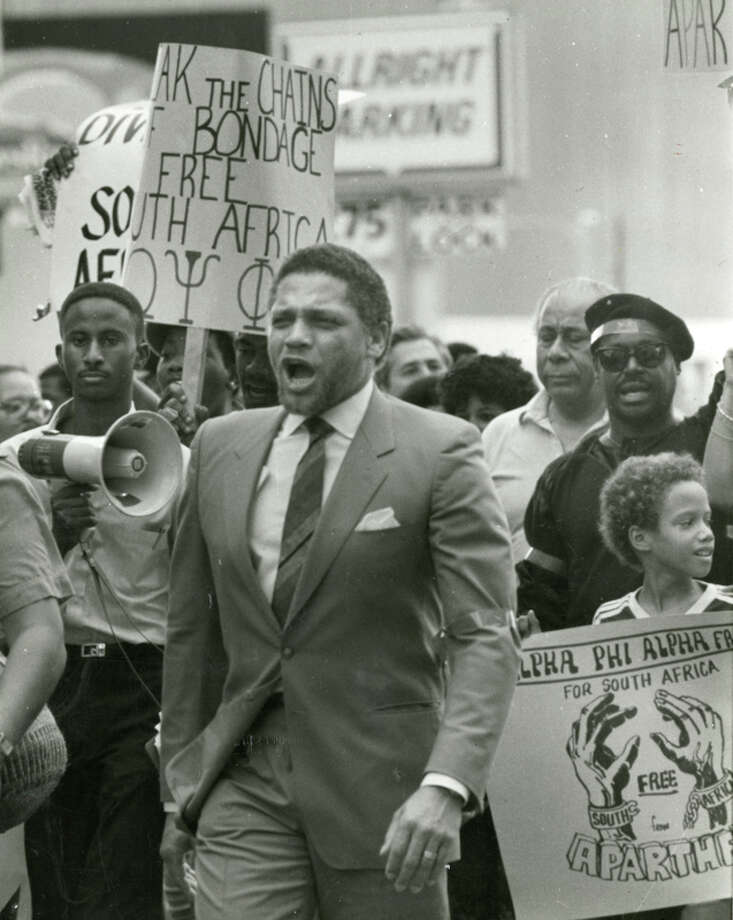 Rep. Mickey Leland attends a Free South Africa Movement rally in downtown Houston on Oct. 12, 1985.  Mickey Leland, a Democratic congressman from Texas 18th District, died Aug. 7, 1989 at age 44 when a plane he was on crashed during a mission trip in Fugnido, Ethiopia. Photo: Houston Chronicle File Photo