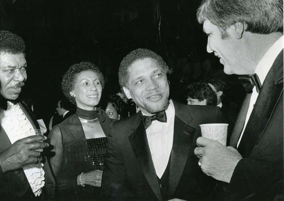 Rep. Mickey Leland greets friends at Gov. Mark White's Inaugural Ball, Jan. 18, 1983. Mickey Leland, a Democratic congressman from Texas 18th District, died Aug. 7, 1989 at age 44 when a plane he was on crashed during a mission trip in Fugnido, Ethiopia. Photo: Houston Chronicle File Photo