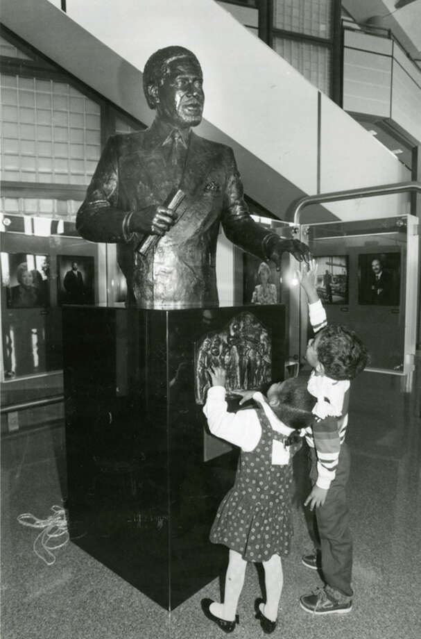 Nicole Ellis, 3, and Jarrett Leland,5 touch the sculpture of Jarrett's father Mickey Leland following its Oct. 15, 1991 unveiling at Houston Intercontinental Airport.  Mickey Leland, a Democratic congressman from Texas 18th District, died Aug. 7, 1989 at age 44 when a plane he was on crashed during a mission trip in Fugnido, Ethiopia. Photo: Houston Chronicle File Photo