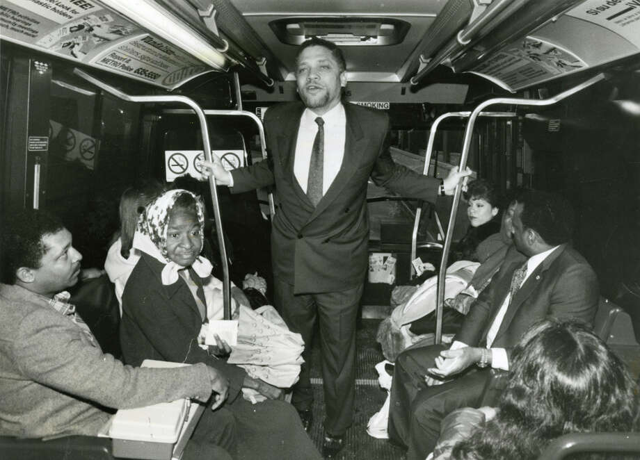 Rep. Mickey Leland campaigns on a Houston Metro bus in downtown Houston, circa February 1988. Mickey Leland, a Democratic congressman from Texas 18th District, died Aug. 7, 1989 at age 44 when a plane he was on crashed during a mission trip in Fugnido, Ethiopia. Photo: Houston Chronicle File Photo