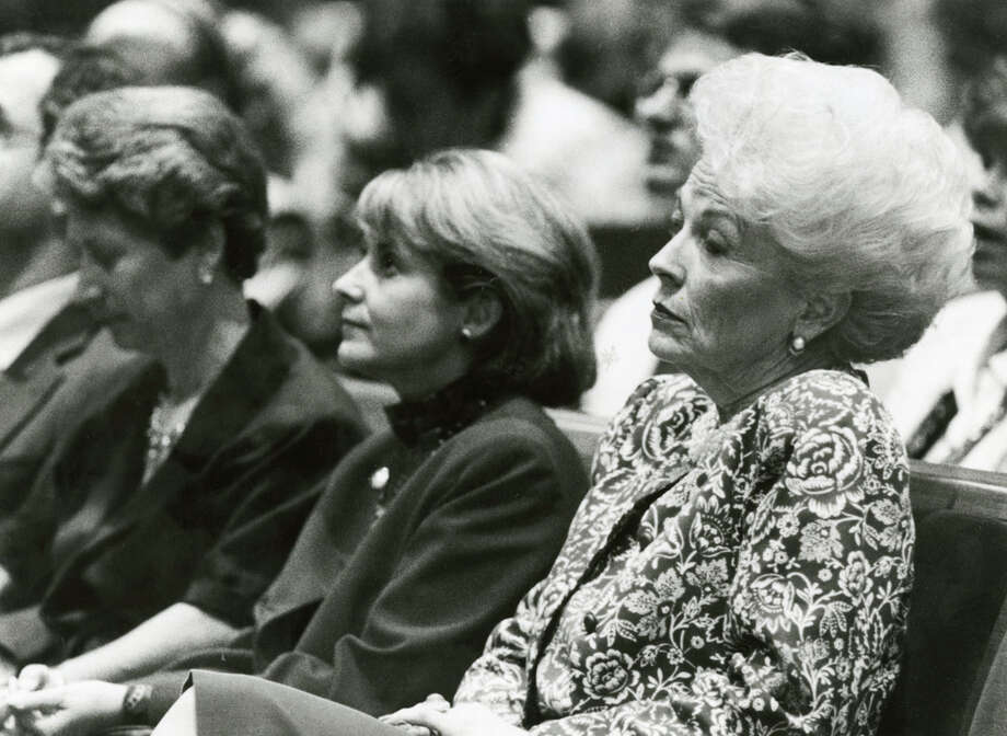 Then state Treasurer Ann Richards at the August 1989 memorial service for Mickey Leland. Leland, a Democratic congressman from Texas 18th District, died Aug. 7, 1989 at age 44 when a plane he was on crashed during a mission trip in Fugnido, Ethiopia. Photo: Houston Chronicle File Photo