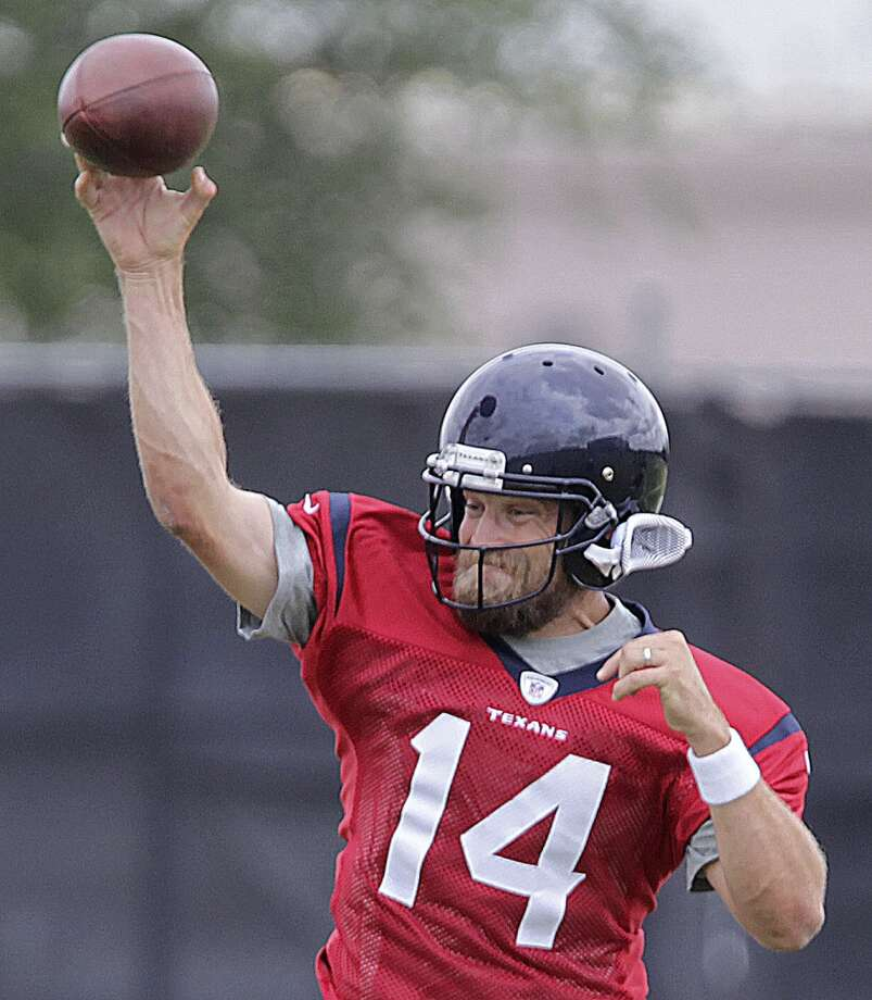 Ryan Fitzpatrick  On March 20, 2014, the Texans signed the veteran QB to a two-year deal. Months later during offseason workouts, new Texans head coach Bill O'Brien named Fitzpatrick his starter for the 2014 season. Fitzpatrick made his NFL debut, coincidentally, against the Texans as he passed for 310 yards and 3 TDs in a Rams' 33-27 win on November 11, 2005 at Reliant Stadium. Fitzpatrick started the Texans' first nine games of the 2014 season and the team posted a 4-5 record. Fitzpatrick is currently the starting quarterback for the New York Jets. Photo: James Nielsen, Houston Chronicle