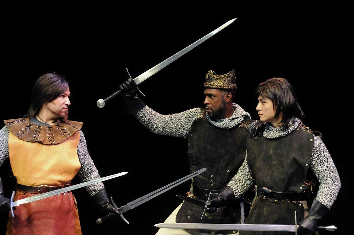 """Leraldo Anzaldua, from left, Mirron Willis and David Huynh star in """"Henry IV, Part 1."""""""