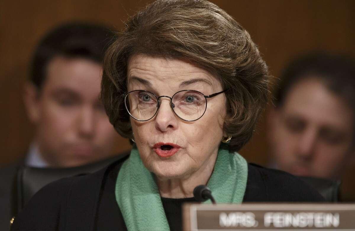 In this file photo, Sen. Dianne Feinstein, D-Calif., speaks on Capitol Hill in Washington.