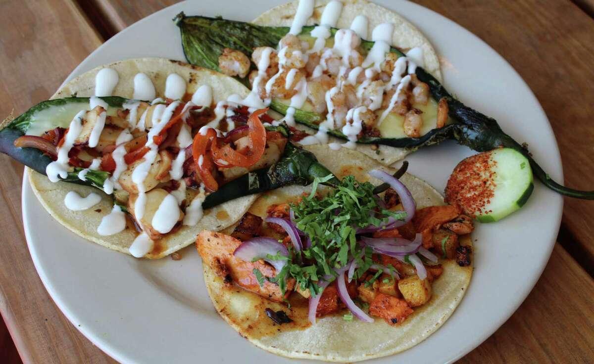 Muelle 58 offers octopus chilaca, shrimp chilaca and salmon al pastor tacos.