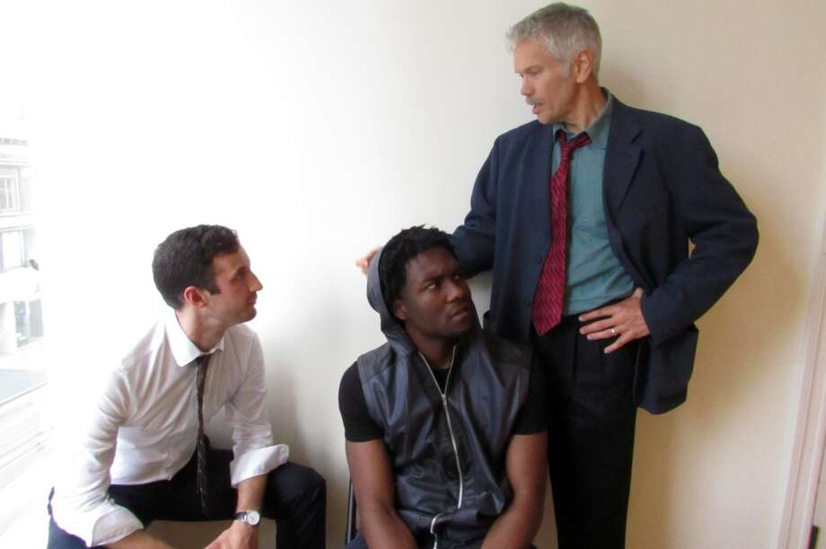 "A man falls to his death on a New York subway track. Was he pushed? As two white cops interrogate a young black man, layers of identity and truth become more elusive in San Francisco Playhouse's world premiere of ""From Red to Black"" by rising playwright Rhett Rossi in the Sandbox Series. The show previews Thursday and Friday, opening Saturday and running through Aug. 30 at the ACT Costume Shop. Photo: Jordan Puckett"