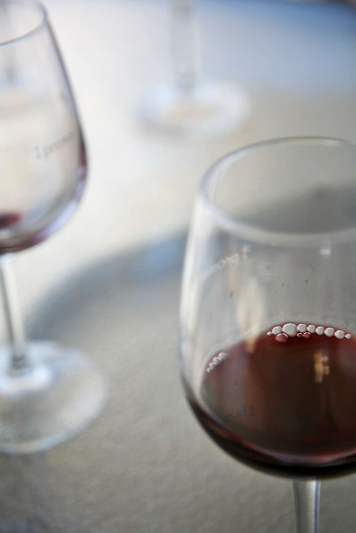 Wine glasses at the Burrell School in Los Gatos, Calif., on Thursday, July 31, 2014.