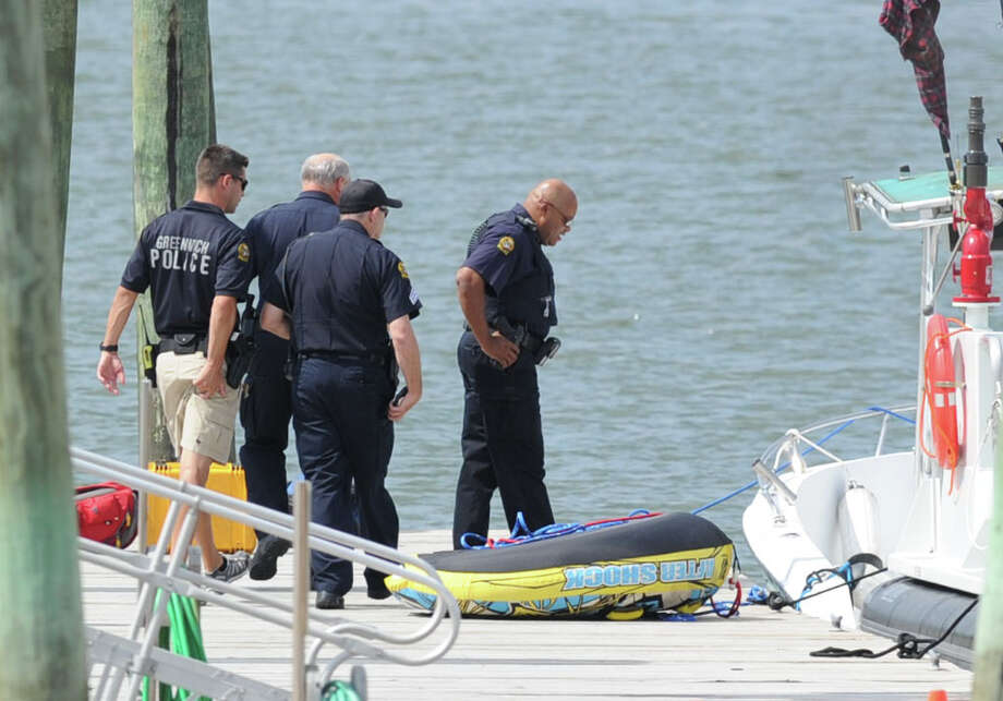 The scene of a boating accident near the Old Greenwich Yacht Club at Greenwich Point, Conn., Wednesday afternoon, Aug. 6, 2014. Photo: Bob Luckey / Greenwich Time