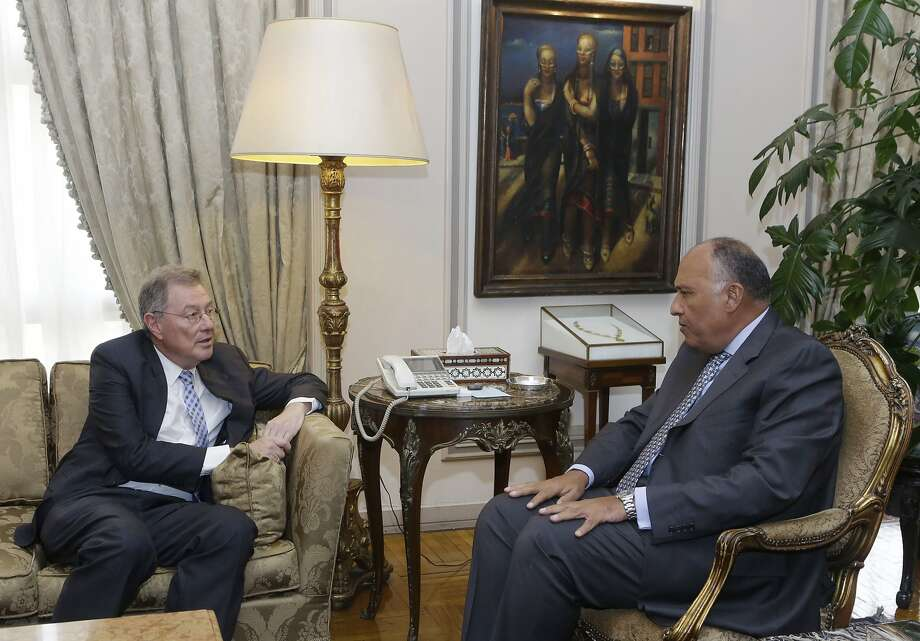 Egyptian Foreign Minister Sameh Shukri, right, meets in Cairo with Robert Serry, U.N. special coordinator for the Middle East peace process. Photo: Amr Nabil, Associated Press