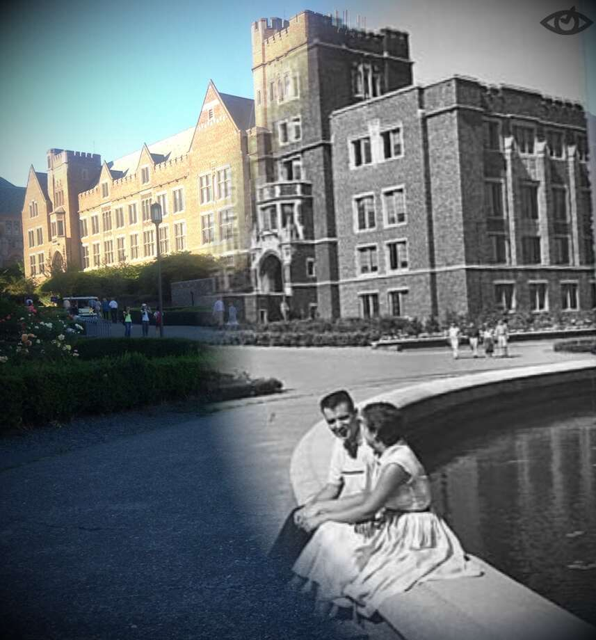 University of Washington students hang out at Frosh Pond and Mary Gates Hall then and now. Photo: Timera