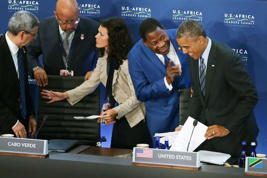 WASHINGTON, DC - AUGUST 06:  Benin President Boni Yayi (2nd R) talks with U.S. President Barack Obama (R) before the third and final plenary meeting of the U.S.-Africa Leaders Summit at the State Department August 6, 2014 in Washington, DC. Obama hosted the last day of the first-ever summit to strengthen ties between the United States and African nations.  (Photo by Chip Somodevilla/Getty Images) Photo: Chip Somodevilla, Getty Images