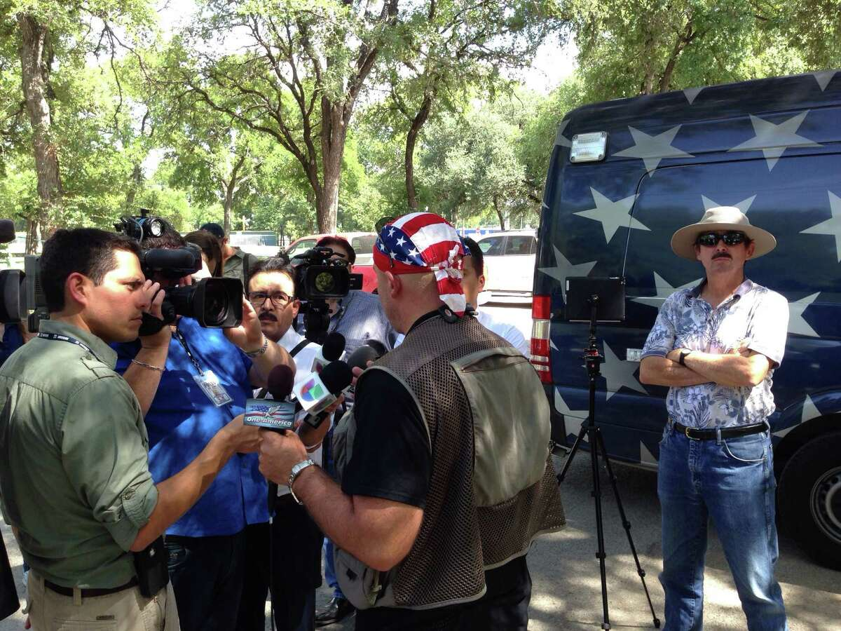 The Border Convoy has arrived at Olmos Basin Park in San Antonio on Wednesday, Aug. 6, 2014, The group advocates controlling the U.S.-Mexico border.