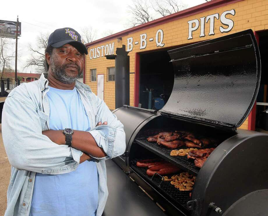 The Houston Rodeo Barbecue Grand Champion Kerry Fellows with the pit he used from Pitts by JJ on the Eastex Freeway Saturday March 09, 2013.(Dave Rossman/ For the Chronicle) Photo: Dave Rossman, Freelance / © 2013 Dave Rossman