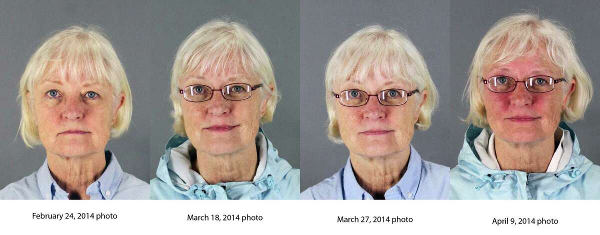 This combination of four 2014 booking photos released by the San Mateo County Sheriff's Office shows Marilyn Hartman. Federal law enforcement officials say Hartman tried at least three times to breach airport security before she was able to get through a checkpoint without a boarding pass at Mineta San Jose International Airport in August.