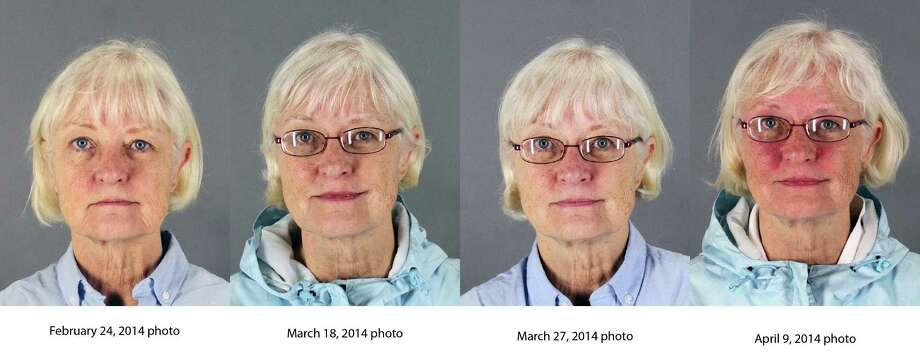 This combination of four 2014 booking photos released by the San Mateo County Sheriff's Office shows Marilyn Hartman. Federal law enforcement officials say Hartman tried at least three times to breach airport security before she was able to get through a checkpoint without a boarding pass at Mineta San Jose International Airport in August. Photo: Associated Press / San Mateo County Sheriff's Offic