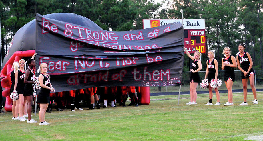 August 8:Kountze's cheerleaders filed a petition with the Texas Supreme Court in a bid to help ensure they can display banners with religious messages at football games. Photo: Picasa