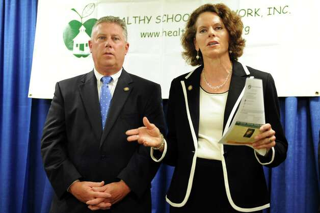 Assembly members John T. McDonald III, left, and Patricia Fahy address oil train safety issues during a news conference on Wednesday, Aug. 6, 2014, at the Legislative Office Building in Albany, N.Y. (Cindy Schultz / Times Union) Photo: Cindy Schultz / 00028061A