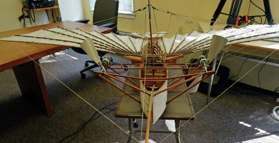 A scale replica of Gustave Whitehead's Condor 21 was on display at the Board of Selectmen meeting, but the full-sized replica can be viewed August 14 at the Sherman Green. Photo: Genevieve Reilly / Fairfield Citizen