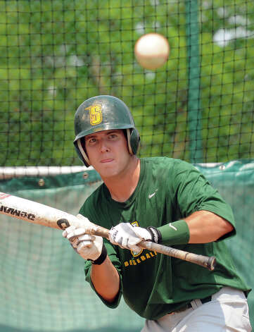 Siena senior centerfielder Mike Fish gets ready to bunt during baseball practice on Tuesday, May 21, 2013, at Siena College in Loudenville, N.Y. Fish is a Bethlehem graduate who's a candidate to win Player of the Year in the Metro Atlantic Athletic Conference. (Cindy Schultz / Times Union) Photo: Cindy Schultz / 00022498A
