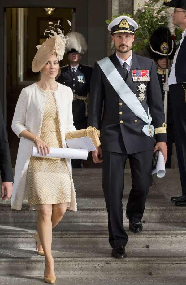 She made the VF list! Crown Princess Mary of Denmark (L) and Crown Prince Haakon of Norway leave the Royal Chapel on May 22, 2012 after the christening of Princess Estelle of Sweden in Stockholm. Princess Estelle, second in line to the throne after her mother Crown Princess Victoria, is the daughter of Prince Daniel of Sweden. AFP PHOTO/ JONATHAN NACKSTRAND JONATHAN NACKSTRAND/AFP/GettyImages Photo: JONATHAN NACKSTRAND, AFP/Getty Images